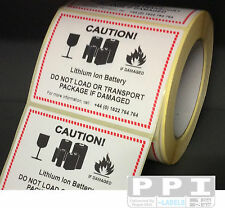 500 IATA Royal Mail LITHIUM ION BATTERY HAZARD WARNING Labels, TEL NO / BAT-ION