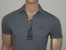 Armani Exchange Authentic Signature A X Stretch Polo Shirt Heather Gray NWT