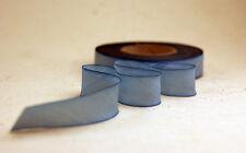"15mm Earth Silk Bias Cut Hand Dyed Ribbon 5/8"" blend 085 blue hydrangea"