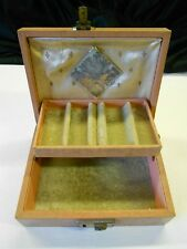 Vintage Mele Jewelry Box Leatherette Redish Tan Solid No Key Collectible!
