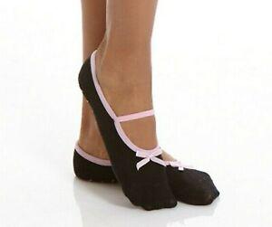 3 Pr Womens Slippers Socks Kushyfoot Non-Slip Black and Pink     Fits Shoe 6-10