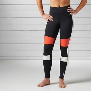 Reebok Womens Speedwick Colourblock Tight Long Gym Pants Running Leggings