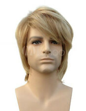 Handsome Men Short Blonde Straight Male Fashion Cosplay Party Hair Full Wig Wigs