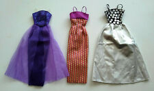 Lot of 3 -Barbie Fashion Avenue Gift Pack Evening dresses Purple Silver Gold