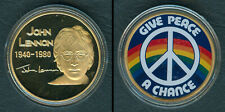 BEATLES JOHN LENNON Give Peace A Chance SIGNED GOLD PLATED Coin Medal