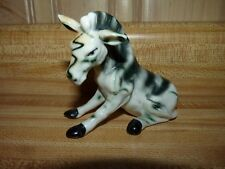 Vintage bone china or porcelain Zebra sitting down figurine 3 x 4 inch Japan