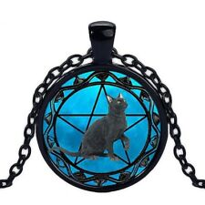 UK BLACK CAT PENTAGRAM PENDANT NECKLACE Jewellery Gift Idea Witch Gothic Fantasy