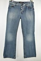 London Jeans Bootcut Boot Cut Button Fly Stretch Womens Size 8 Blue Meas 29x30.5