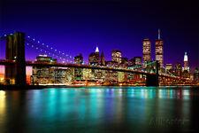 Brooklyn Bridge At Night Poster Print, 36x24