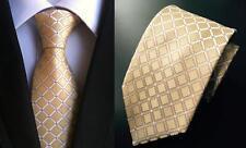 Giallo Cravatta Fazzoletto da Taschino Set con Motivo Artigianale 100% Seta