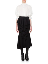 NWT $2335 GIVENCHY Black Stretch-wool Ruffle Skirt Size 38