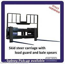 SKID STEER CARRIAGE with BALE SPEARS HAY SPIKES and LOAD GUARD fully certified