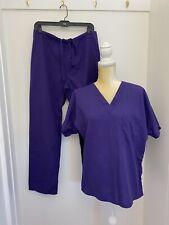 Simply Basic Medical Scrub Uniform Top n Bottom Small Purple 2 pieces Match Set