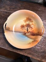 Noritaki Vintage 2 Handled Serving Bowl Handpainted Made In Japan Scenic Gold