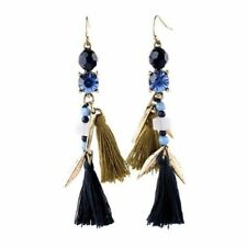 Tassel Drop Earrings Fringe Blue Bead Erica Nikol Vintage Style Jewelry Gift NEW