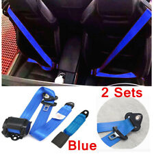 2x Seat Belt Blue 3 Point Safety Travel Adjustable Retractable Car Universal