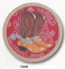 New listing Western Red Boots Stepping Stone Hanging Plaque [#13046] by Spoontiques
