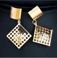 Trendy Clear Crystal Square Drop Earrings