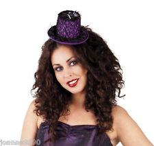 Halloween Violet toile d'araignée mini chapeau de Sorcière Gothique Costume Robe Fantaisie Accessoire