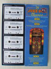 75 JUKE BOX CLASSICS 4 CASSETTE BOX, 50's, 60's, 70's, 80's, VARIOUS, TESTED.