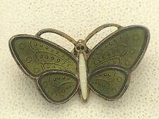 """Vintage Aksel Holmsen Norway Sterling Silver Green Enamel Butterfly Pin 15/16"""""""