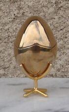 Superbe œuf sur pied intérieur émail noir en Bronze massif plaqué or 20 microns