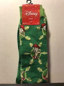 Disney Donald Duck Holiday Green Socks Mens Size 10-13 Crew 1 Pair NEW