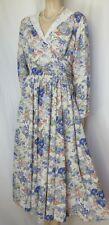 Laura Ashley Kleid 40 42 Blumen Spitzenkragen Baumwolle Leinen langarm vintage