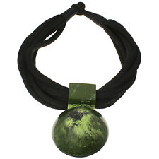 Tribal jewelry oversized round green pendant choker necklace statement jewellery
