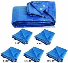 6 Sizes of Heavy Duty Tarpaulin Blue Waterproof Strong Cover Ground Sheet Tarp