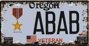 PLAQUE métal style immatriculation Américaine USA  - OREGON ABAB VETERAN