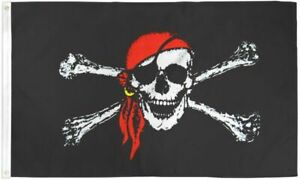 PIRATE Quality Fabric Flag 5Ft X 3Ft Red Bandana Durable Outdoor Flag Eyelets