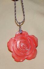 Striking Salmon Pink Etched Wrapped Rose Mother Pearl Silvertn Pendant Necklace