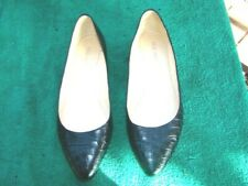 ladies size 39/8M black leather NINE WEST flat shoe VGC