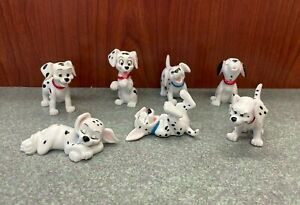 Lot of 7 Walt Disney's 101 Dalmatians Plastic PVC Puppy Figures - Spots Collars