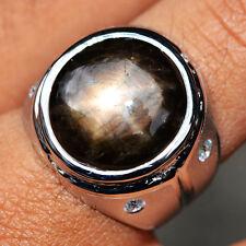 65.37ct Natural Cabochon Black Stars Sapphire 6 Ray 925 Gold Silver Ring 9US #R