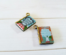 Miniature Book Charms Set Tiny Book Charms Library Charms Librarian Charms 2pcs
