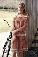 NWT Anthropologie Floreat dusty pink Off The Shoulder Embroidered Lace Dress S