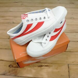 Vtg 70s 80s Deadstock Sneakers Mens 9 Red White Canvas Basketball Low Top Double