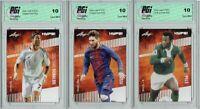 3) Pele Lionel Messi Cristiano Ronaldo 2020 Leaf HYPE Card GOAT! Lot All PGI 10