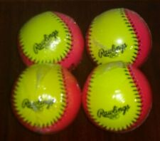 "Rawlings 10"" Soft Indoor/Outdoor Fastpitch Training Softball Set of 4 Optic New"