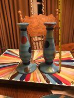 Gail Pittman pottery cha cha cha candlesticks. Set of two. Tango. Pottery