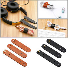 3X Leather Earphone Wire Cord Cable Clip Tie Organisers Holder Line Fixer Brown