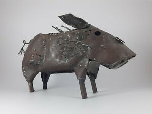 A Scrap Metal Figure of a Hog or Pig. Made from old oil drums. Decorative
