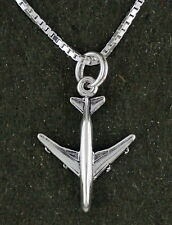 747 Jet Airplane Necklace Sterling Silver Pendant 18 Inch Chain Plane Travel