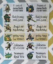 40 NINJA TURTLE Custom Name Labels-SCHOOL,DAYCARE,CAMPING (Buy 5 get 1 free)
