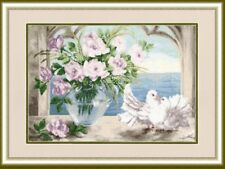 Counted cross stitch kit Faithfulness White Doves Flowers by Golden Fleece
