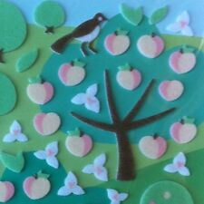 Korean 3D Felt Fuzzy Funny Sticker World Peach Tree Fruit Flower Bird