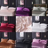 2Pcs Satin Silk Single Pillowcase Cushion Cover Bedding Soft Queen Standard Home
