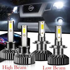 For Nissan 350Z 2003-2004 4x H7 H1 LED Headlight Hi Low Beam 12000LM White Bulbs
